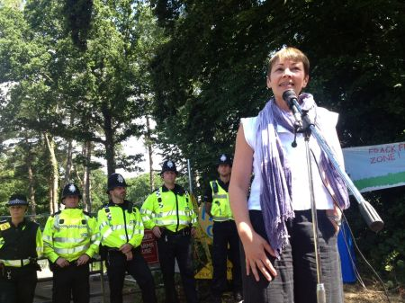 Caroline Lucas at Balcombe
