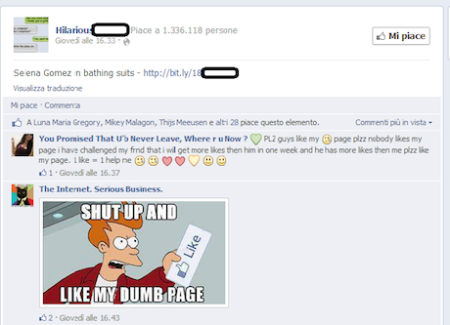 a typical page with spam links on Facebook