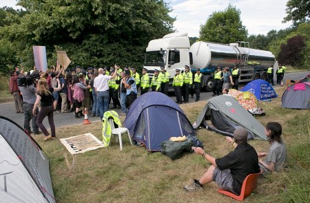 Fracking protest at Balcombe in Sussex