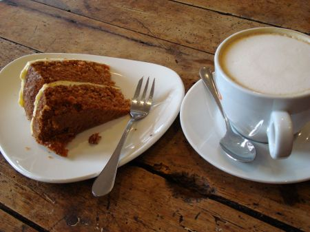carrot cake and cappuccino