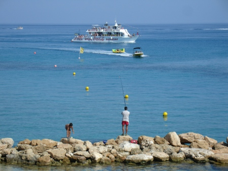 Napa King II passing Fig Tree Bay en route to Cape Greco