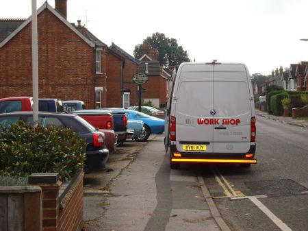 parked on footpath on double yellow lines