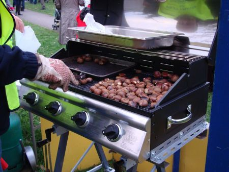 er no, not traditional hot chestnuts on  a gas-fired barbecue