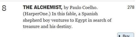 The Alchemist two hundred and seventy-eight weeks New York Times best-seller list