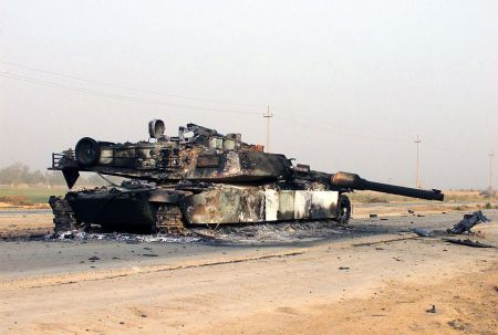 burnt out Abrahams tank in Iraq