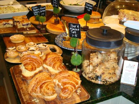 counter laden with scrumptious food