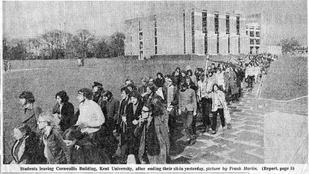 students leaving Cornwallis building following student sit-in at University of Kent at Canterbury  March 1970