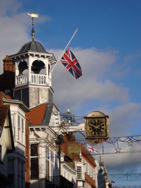 Guildford town hall flag half mast Nelson Mandela RIP