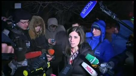 Nadezhda Tolokonnikova speaking to journalists after release from Krasnoyarsk prison
