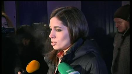 Nadia talking to the press after her release