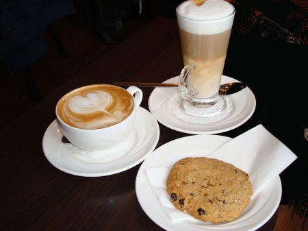 cappuccino and latte and cookie