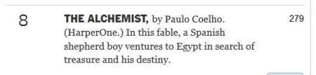 The Alchemist two hundred and seventy-nine weeks New York Times best-seller list
