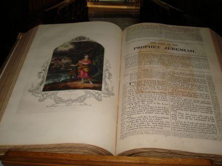 Godalming Parish Church old Bible open at Jeremiah