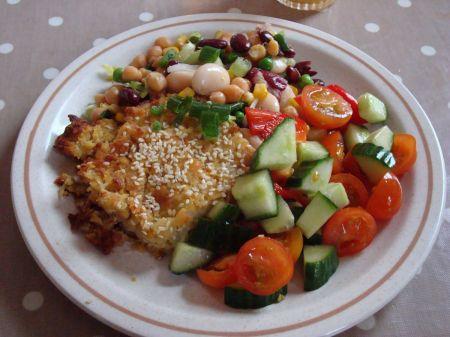 chickpea bake and salad