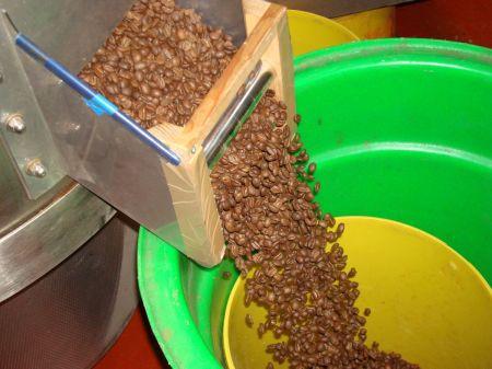 cooled beans discharging