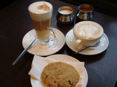 latte and cappuccino and cookie
