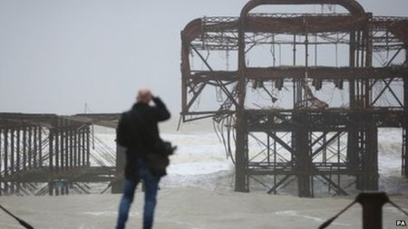 high winds and stormy seas have led to further damage to the Grade I listed West Pier in Brighton