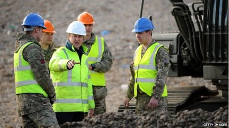 David Cameron with troops on Chesil Beach