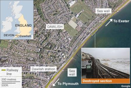 Dawlish map of railway line