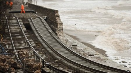 Damage to the railway line at Dawlish A section of rail track dangles over the sea after the wall collapsed at Dawlish