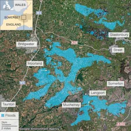 map of flooded Somerset Levels