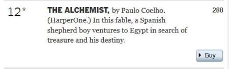 The Alchemist two hundred and eighty-eight weeks New York Times best-seller list