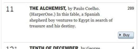 The Alchemist two hundred and eighty-nine weeks New York Times best-seller list