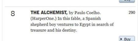The Alchemist two hundred and ninety weeks New York Times best-seller list