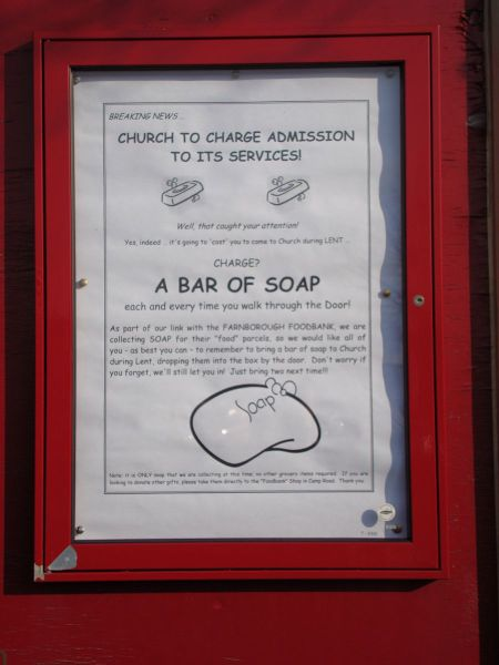 admission charge for entering a church, a bar of soap