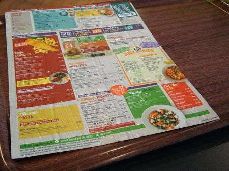 Morrisons crude copy of J D Wetherspoon menu