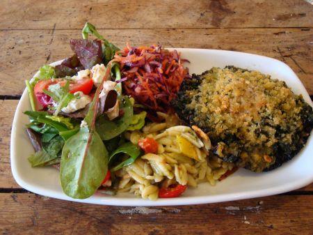 stuffed mushroom and salad