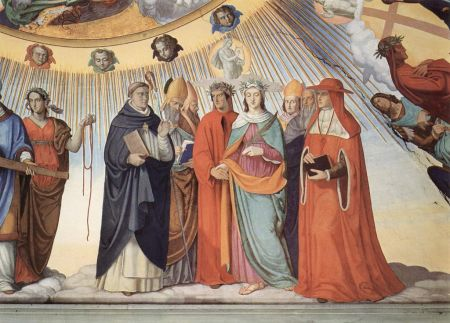 Dante and Beatrice speak to the teachers of wisdom