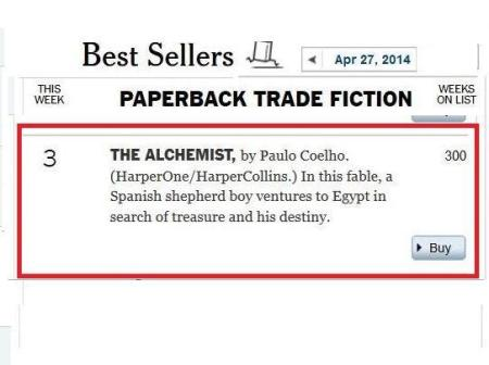 The Alchemist three hundred weeks New York Times best-seller list