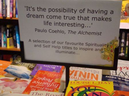Paulo Coelho quote on display table