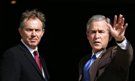 Prime minister Tony Blair meets with American president George W Bush on 7 July 2005