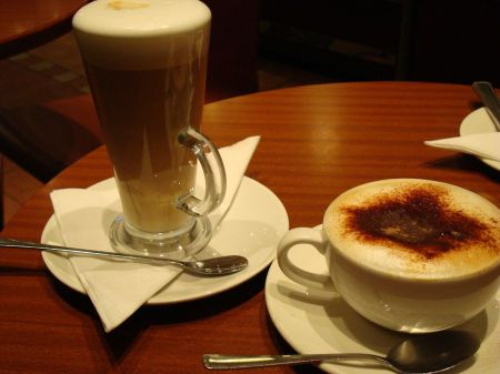 latte and cappuccino at Caffe Macchiato