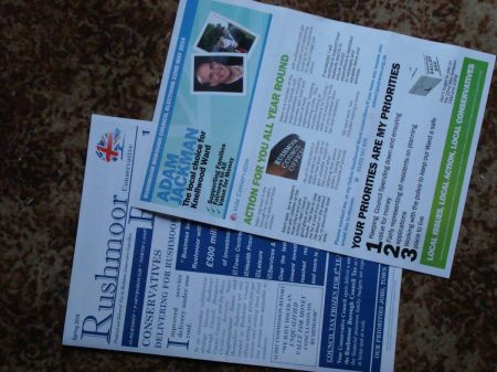 Rushmoor 2014 Tory election  leaflets