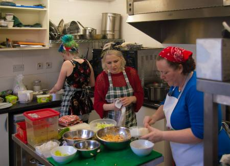 food preparation at Transition Community Cafe