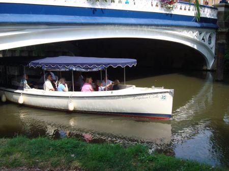 boat passing under Town Bridge