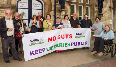 Lincs High Court activists at Lincoln Station