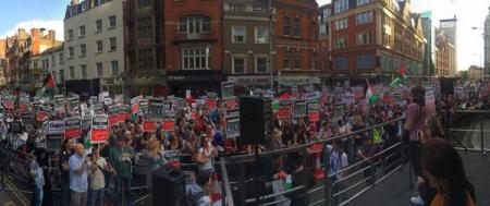 protest outside Israeli Embassy in London