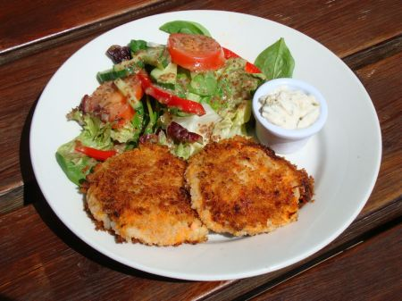 fish cakes and salad