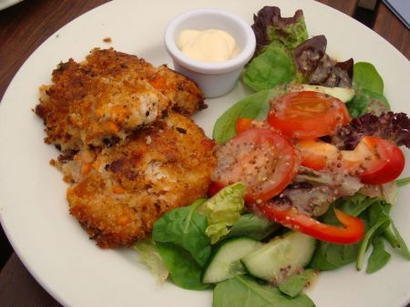 fish cakes and salmon