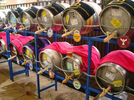 barrels of beer and cider