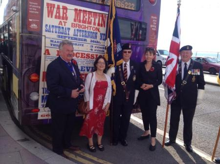 WWI memorial service in Brighton - with commemorative bus conceived and designed by  Amanda Scales