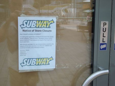 subway Notice of Store Closure