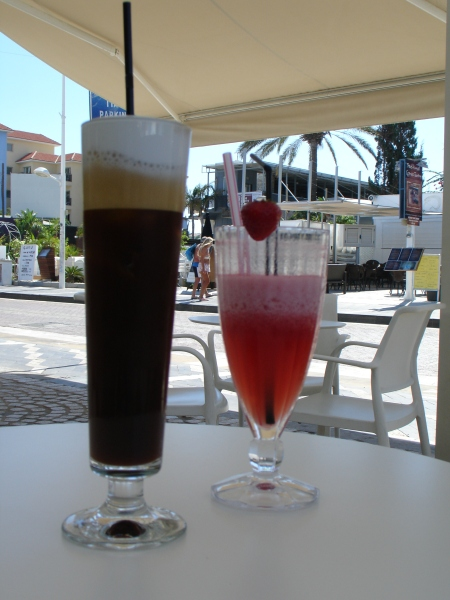 freddo cappuccino and strawberry smoothie
