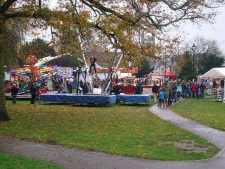 tacky fun fair in Gostrey Meadow