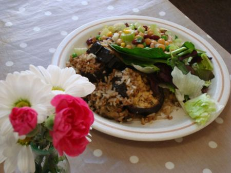 stuffed aubergines, rice and salad