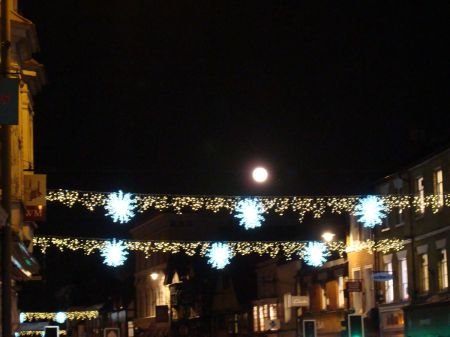 full moon and Christmas lights